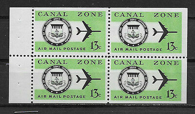 CANAL ZONE , US , 1968/76 , AIRMAIL , 13c BOOKLET PANE OF 4 STAMPS , PERF , MNH
