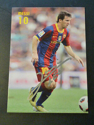 Lionel Messi, *FC BARCELONA*, *ARGENTINA*, hand signed photo card, 4 x 6