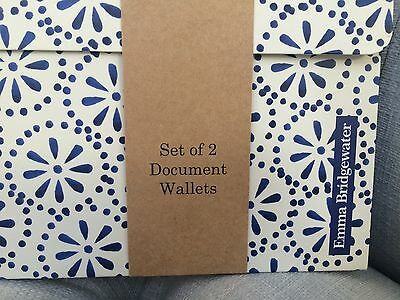NEW - Emma Bridgewater Set of 2 A4 Document Wallet - Blue Skies range