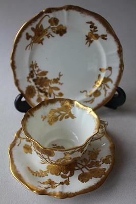 Hammersley 11657 Raised Gilded Floral Cup, Saucer and Side Plate