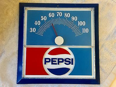 Vintage 1970's Pepsi Cola Thermometer Advertising Sign (good working condition)