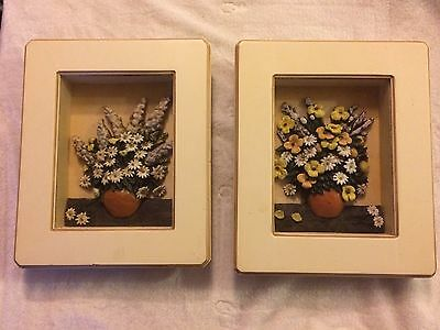 2 x  display box frame, art deco hand painted pottery of flowers in vase