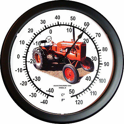 "New 1953 ALLIS CHALMERS Model B Tractor Thermometer MASSIVE 14"" Round 3/4 View"