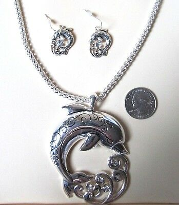 NEW Dolphin Necklace Pendant Earring Set w/Chain ~  FREE  Gift Box