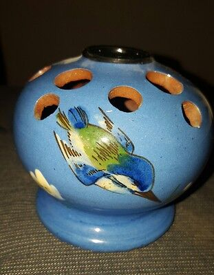 Watcombe Torquay pottery Kingfisher posy vase with holes in excellent condition
