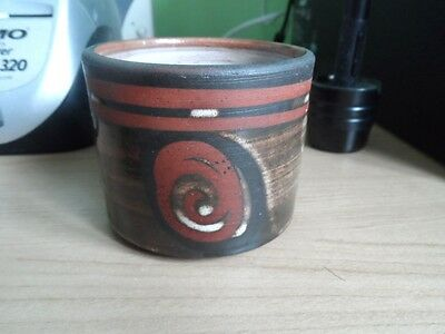 Studio Pottery Briglin Sugar Bowl Swirl Pattern