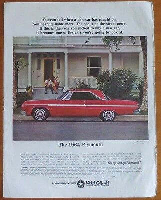 CHRYSLER 1964 PLYMOUTH Print Ad 1960's Vintage Advertising Red