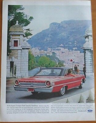 FORD SUPER TORQUE SPORTS HARDTOP Print Ad 1960's Vintage Advertising