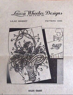 LAURA WHEELER Designs Transfer Pattern 1395 Lilac Basket Embroidery Mail Order