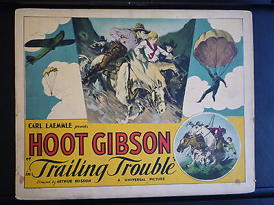 1930 Trailing Trouble - Hoot Gibson Western - Rare Vintage Title Lobby Card