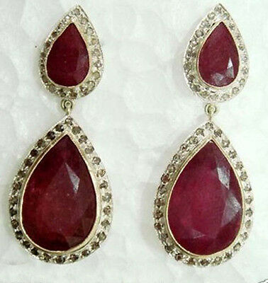 Victorian Inspired 2.65ct Diamond & Ruby Earrings, Free Shipping Worldwide