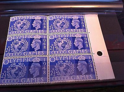 British stamps Kings of old George VI 1948 olympic games SG495 block of 6 gb MNH