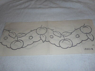 Vintage Embroidery Iron on Transfer Border- Deightons No.23012 - Fruit/Leaves