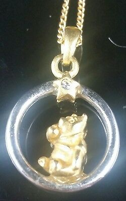 Disney Winnie the Pooh Two Tone Necklace & Pendant Signed Judy Lee