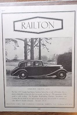 1936 Railton Sandown Saloon Surrey Vintage Original Magazine Advert Print