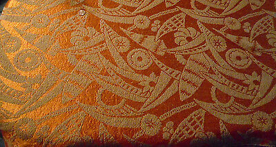 Antique Fabric Silk Woven Brocade Loop Ireland Art Deco Panel Orange 6'x22""