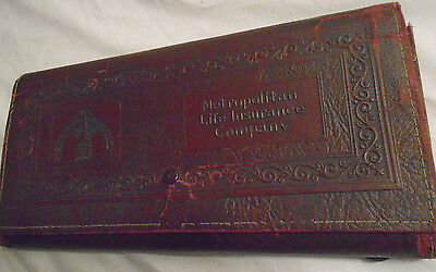1920's Metropolitan Life Insurance Company Embossed Faux Leather Bound Folder