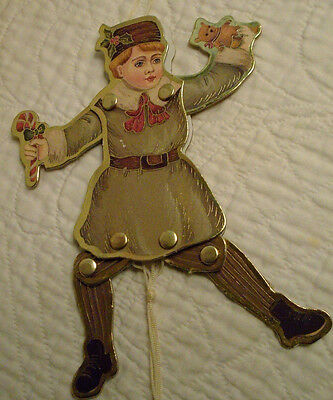 Paper Foil Victorian Old World Style Dancing Boy Pull Toy Christmas Ornament 7""