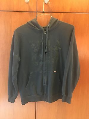Men's Volcom Sweatshirt Hoodie Black Felt Designs Zip Front Size XL