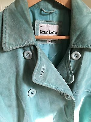 Women's Suede Blue Trench Coat Size 12
