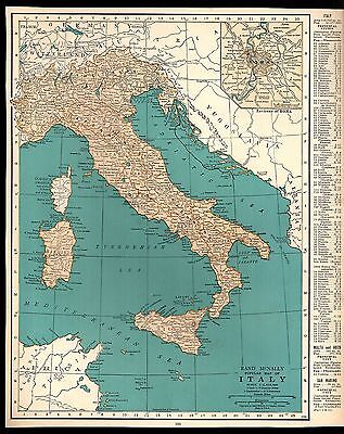 Rand McNally 1937 Vintage Popular Map of Italy/ Netherlands Belgium & Luxembourg