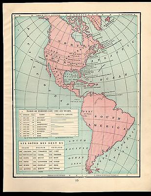 Antique 1903 Map of North and South America/ Settlement of the 13 Colonies