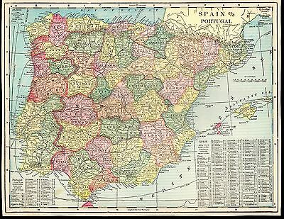 """Antique 1903 Color Detailed Map of Spain & Portugal Geo F. Cram 14"""" X 10.75"""""""
