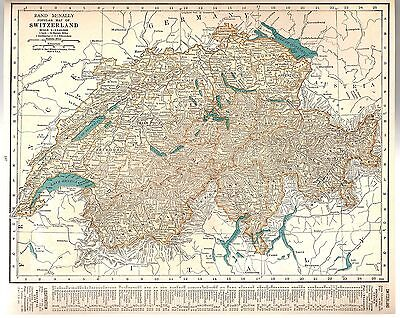 Rand McNally 1937 Vintage Frameable Color Popular Map of Switzerland