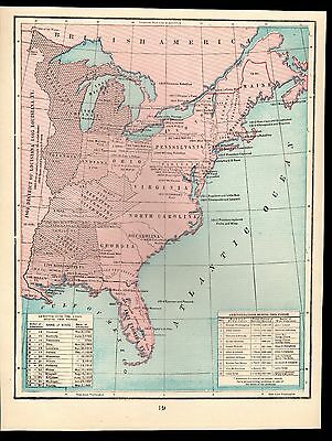 Antique 1903 Map of the United States Admittance into the Union/Administration