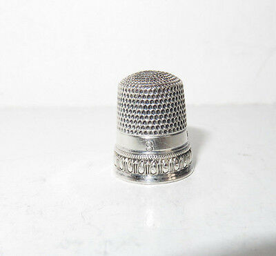 """Antique Simons Sterling Silver Thimble Size 8 Engraved """"ese"""" Ovals Band"""