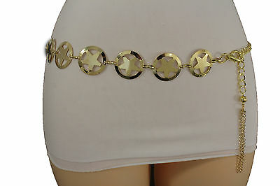 Women Belt Western Fashion Gold Metal Texas Lone Star Charm Hip High Waist S M L