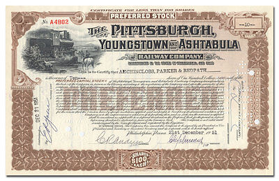 Pittsburgh, Youngstown and Ashtabula Railway Company Stock Certificate
