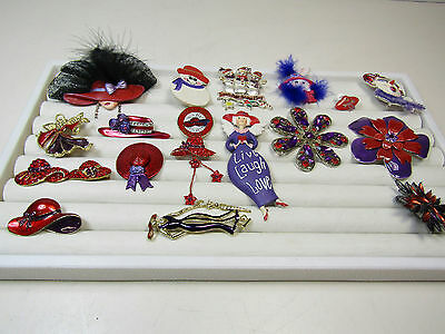 Costume Jewelry Brooch Pin Lot Red Hat Womens Society Club Red Purple AS IS