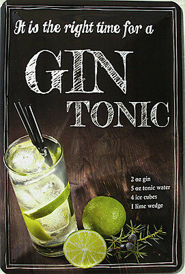 Gin Tonic - is it the right time Blechschild, 20 x 30 cm, gewölbt