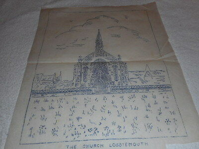 """Vintage Embroidery Iron on Transfer - No.3767 - Church Scene - 12 x 15"""""""
