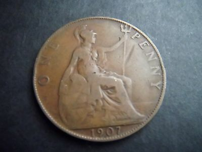 KEVII 1907 GB 1d one penny coin King Edward VII