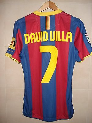 Football Shirt Fc Barcelona Barça Nike Patch Player Issue Villa Champions York