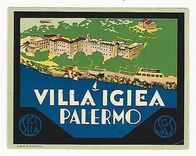 Lot of (3) vintage, colorful, hotel luggage labels, Italy & Sicily