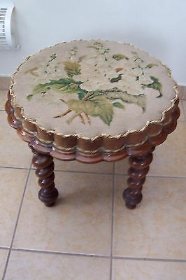 ~~Pretty Victorian Walnut Stool--Unique Circular Flower Shape~~