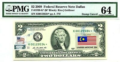 Money Us $2 Dollars Federal Reserve Star Note 2009 Pmg  Flag Of Malaysia Rare