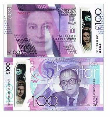 Gibraltar 100 Pounds 2015/2017 Polymer  P New  !!!low Serial Number!!! Unc