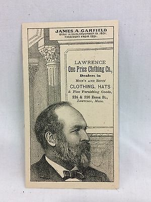 Orig. Victorian 1881 Political US Pres. Garfield Lawrence MA Trade Card #2