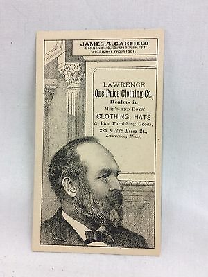 Orig. Victorian 1881 Political US Pres. Garfield Lawrence MA Trade Card #1