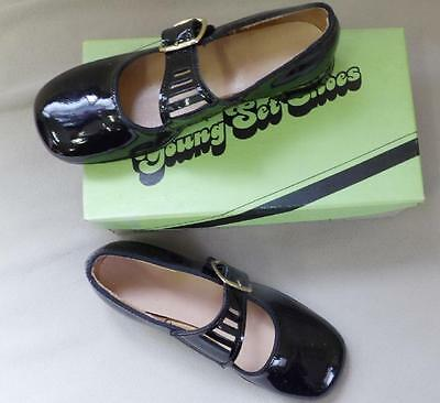 Vtg Retro Girls Youth Black Patent Party Dress Shoes 510 Unique Style Usa New 12