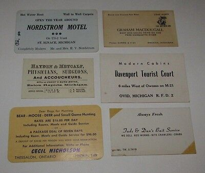 Vtg Michigan Travel Advertising Business Card Ovid St Ignace Branch Eaton Rapids