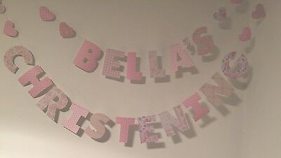 Personalised Christening Decoration Bunting Pink  Or Navy Blue