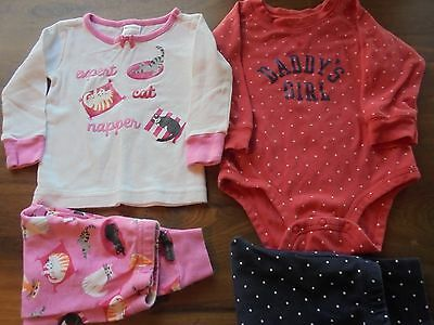 EUC Girl's Size 12-18Months Daddy's Girl Outfit & Gymboree Cat Pajamas