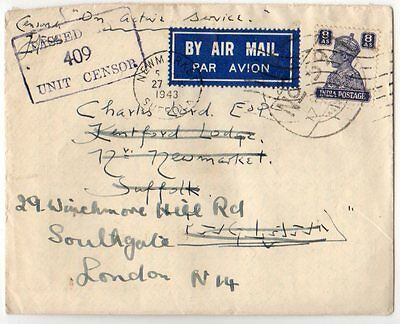 India Used Abroad: 1942 Airmail cover to UK from PAIForce ex FPO 59 with content