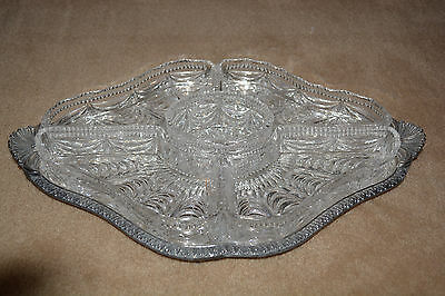 E H Parkin of Sheffield Vintage Hors d'oeuvres Tray - Silver and Cut Glass