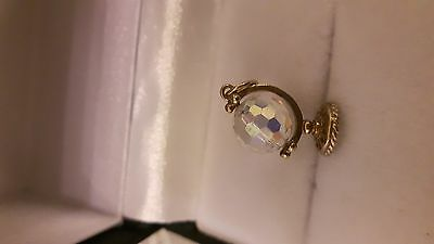 Vintage 9ct Gold Crystal Spinning Globe Charm